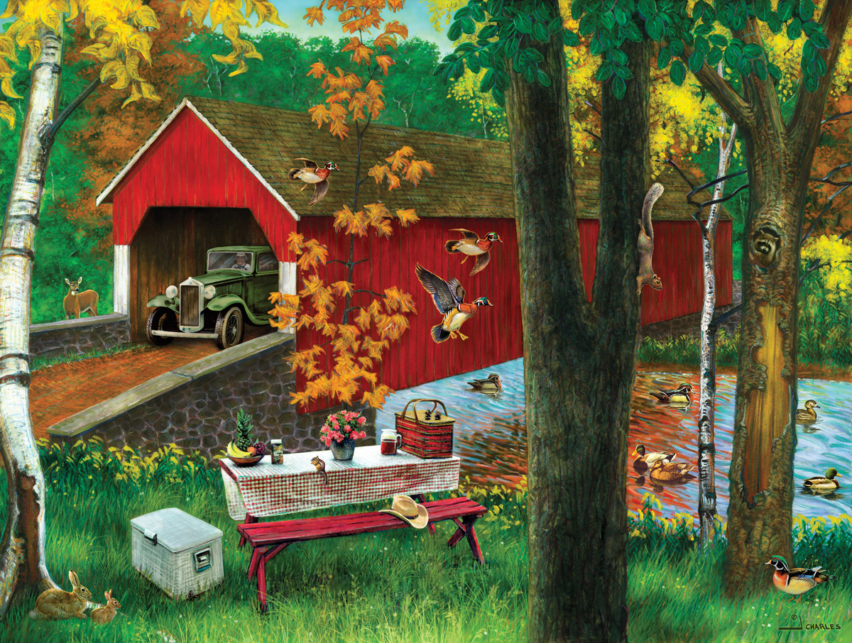 Covered Bridge With Picnic Table Countryside Jigsaw Puzzle