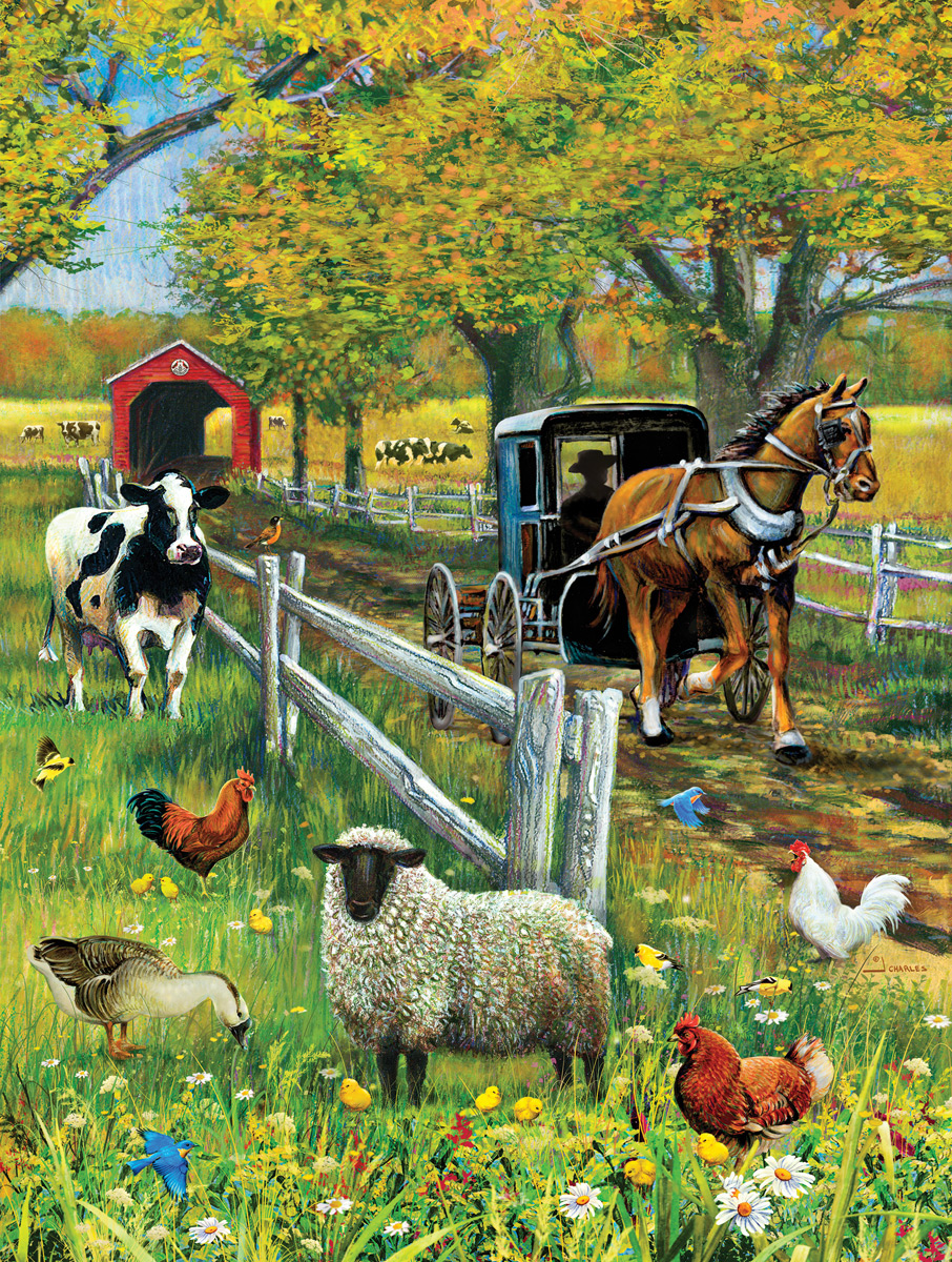 Covered Bridge and Buggy Farm Animals Jigsaw Puzzle