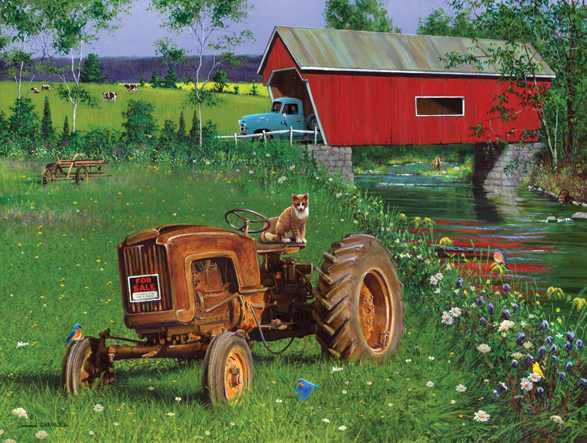 Covered Bridge and Tractor Countryside Jigsaw Puzzle