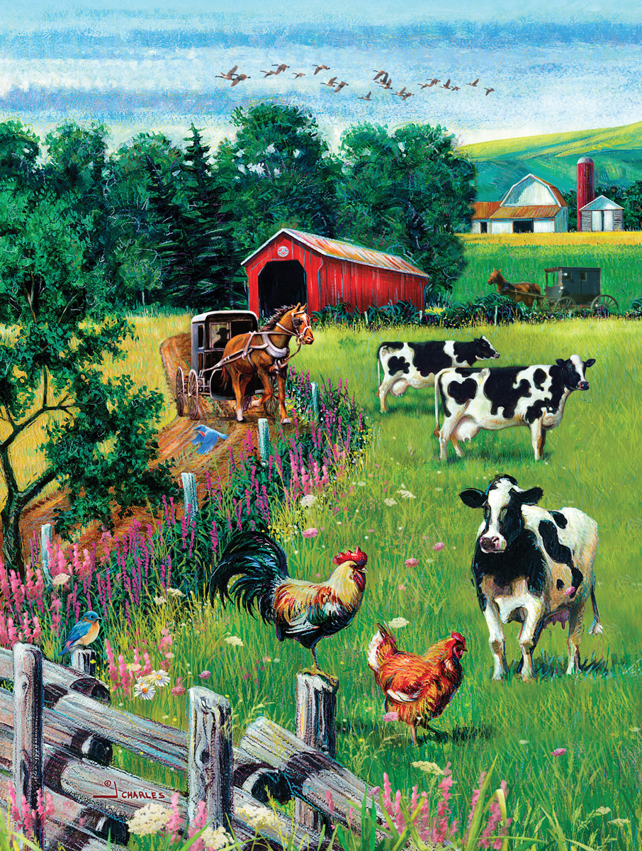 Covered Bridge and Rooster Countryside Jigsaw Puzzle