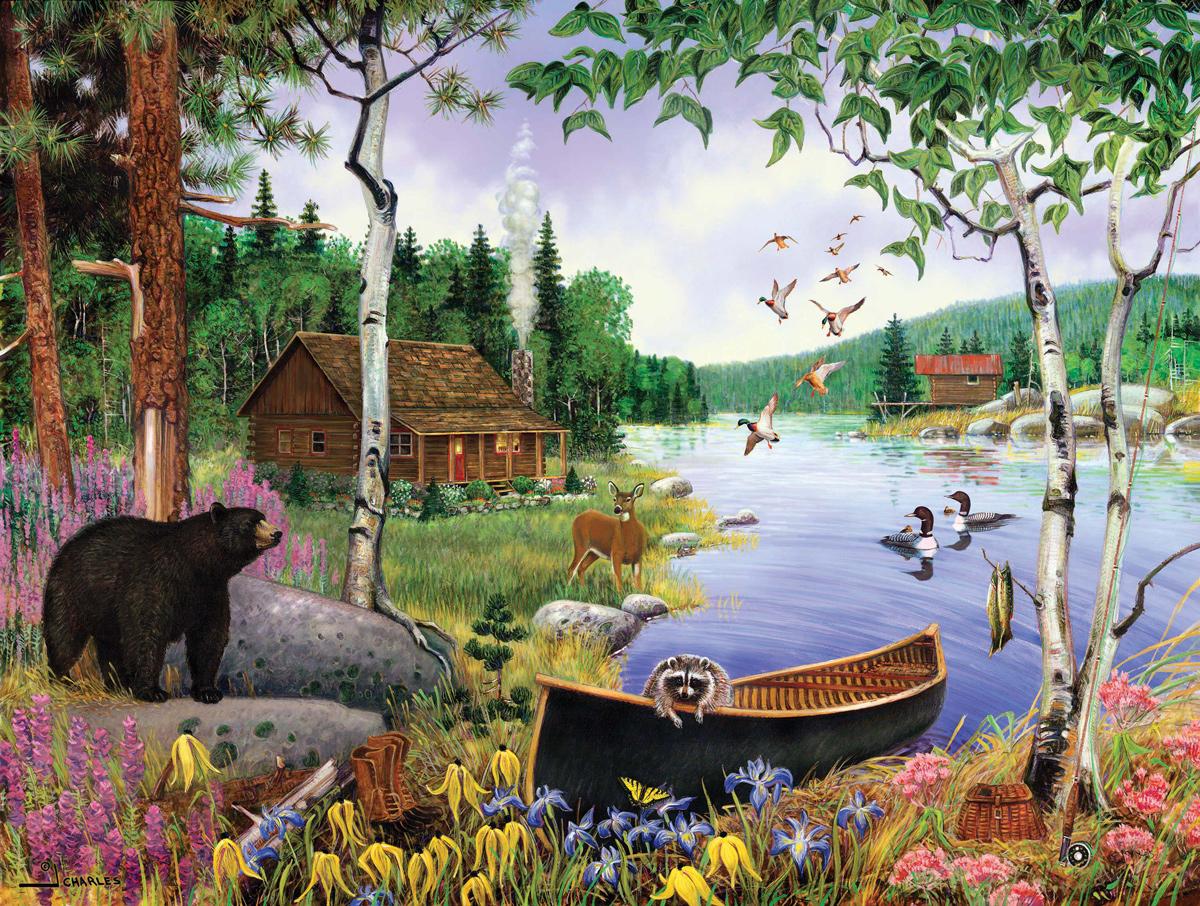 Black Bear and Cabin Bears Jigsaw Puzzle