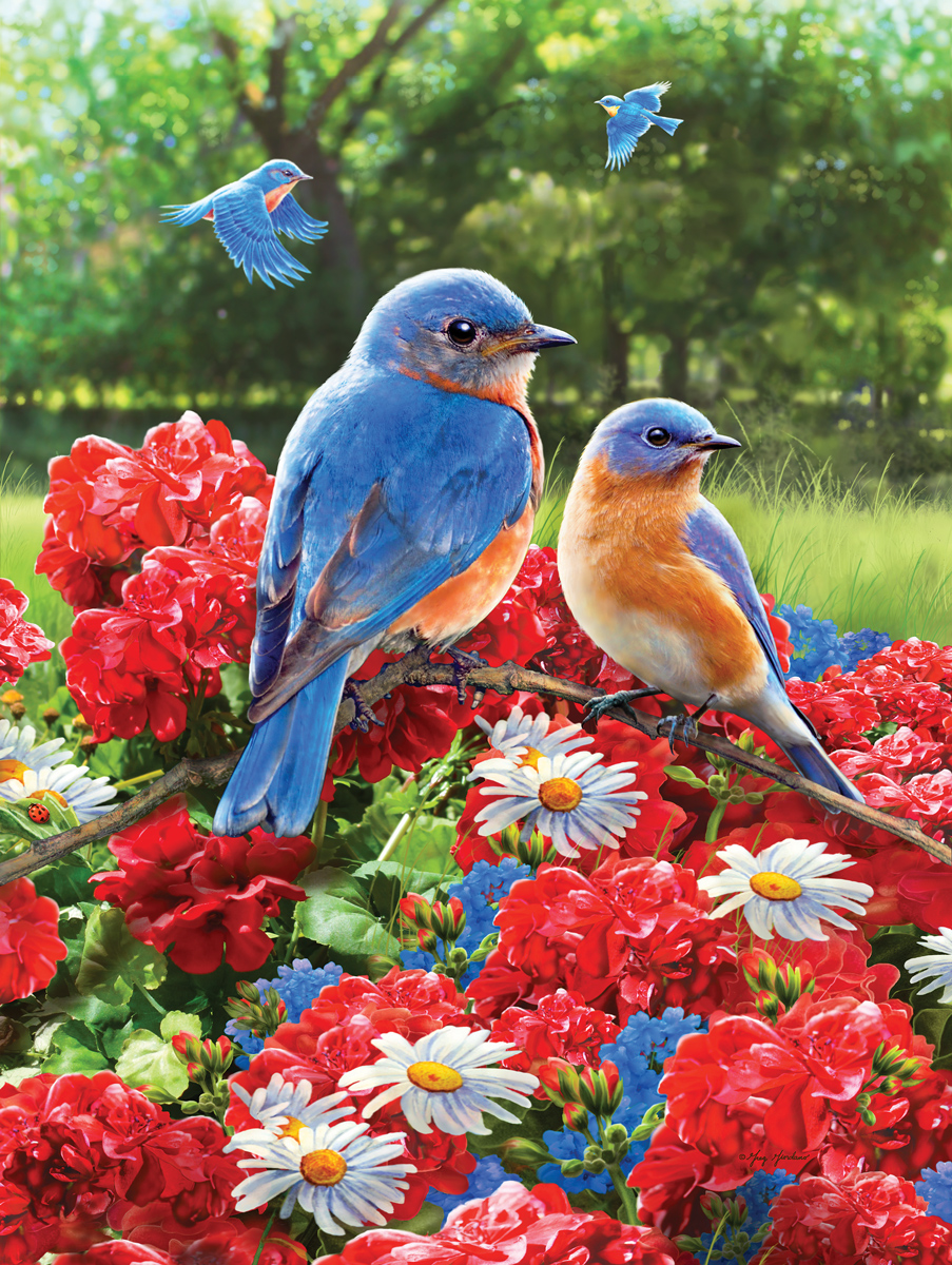 Bluebirds and Zinnias Birds Jigsaw Puzzle