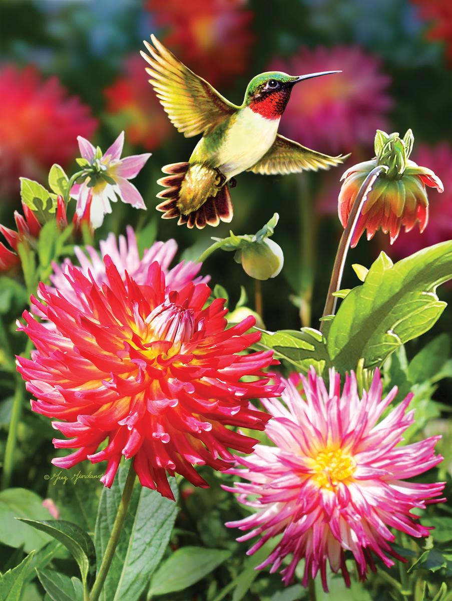 Hummingbirds and Dahlia Birds Jigsaw Puzzle