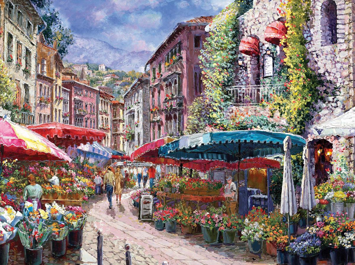 Flower Garden 1 Street Scene Jigsaw Puzzle