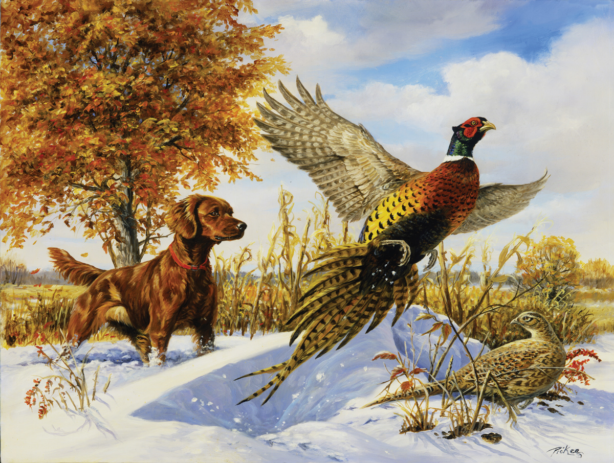 Irish Setter, Pheasant and Tree Dogs Jigsaw Puzzle