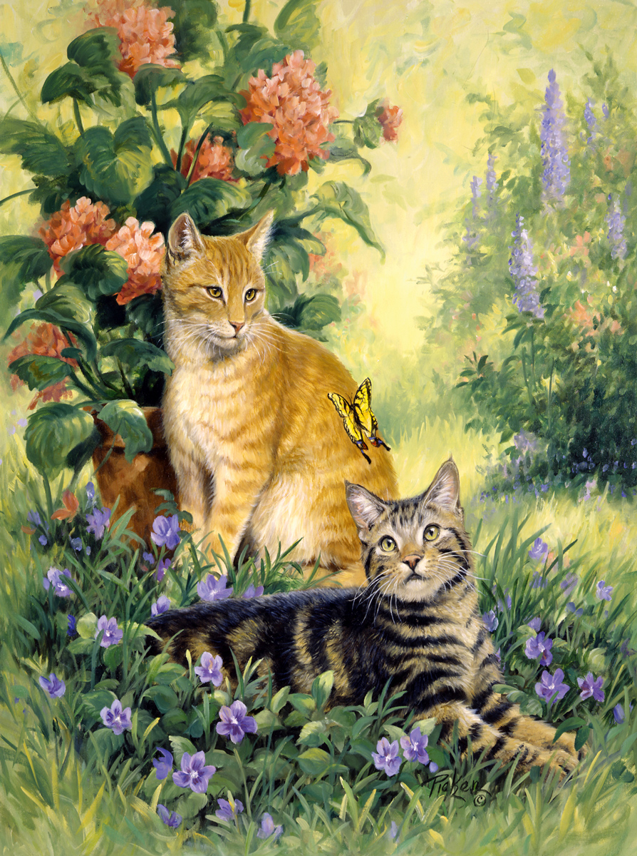 Hobbs And Topper Cats Jigsaw Puzzle