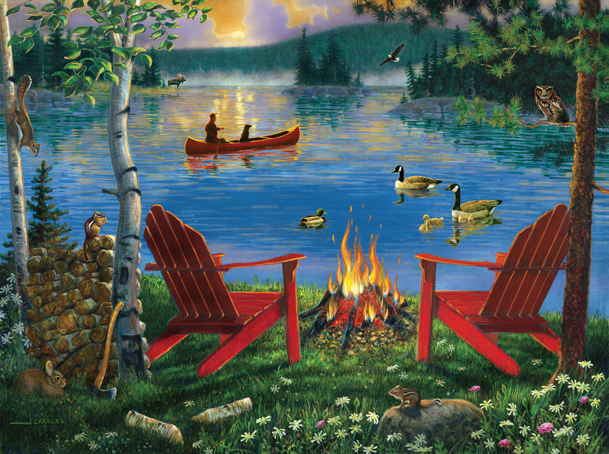 Campfire by the Lake Lakes / Rivers / Streams Jigsaw Puzzle