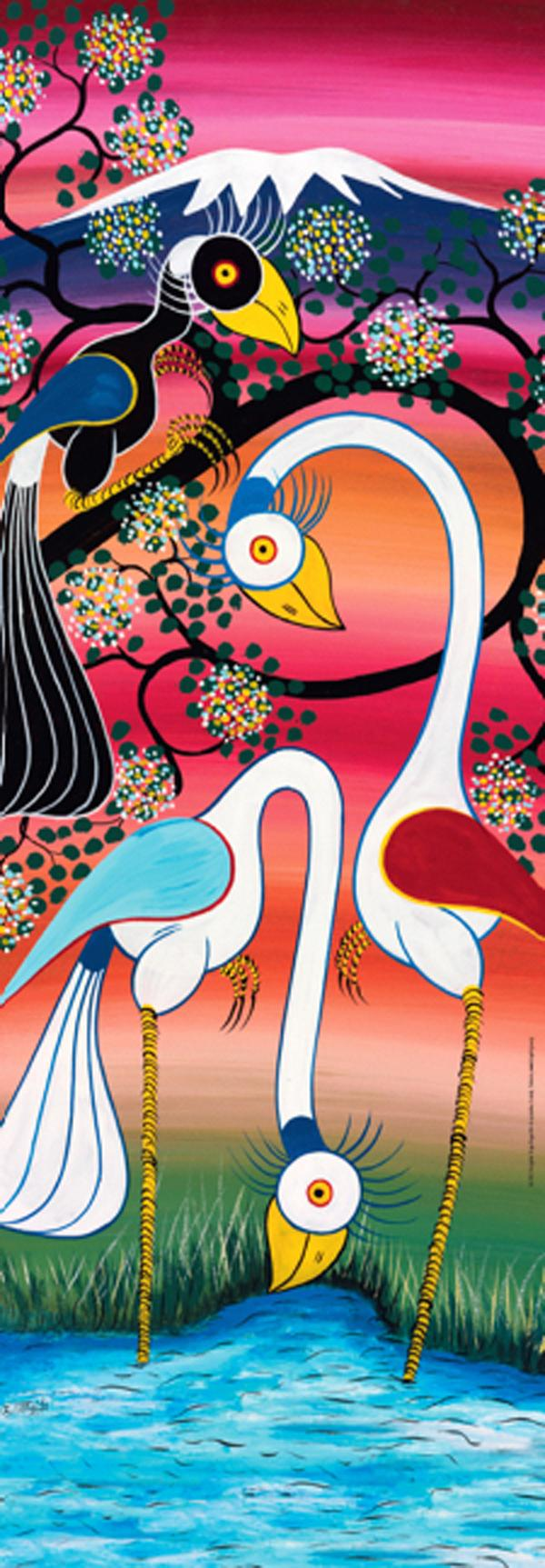 Tinga Tinga, Storks Contemporary & Modern Art Jigsaw Puzzle