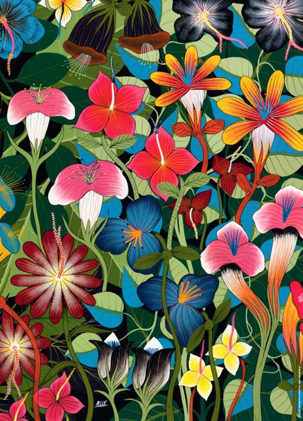 Tinga Tinga, Flowers Contemporary & Modern Art Jigsaw Puzzle