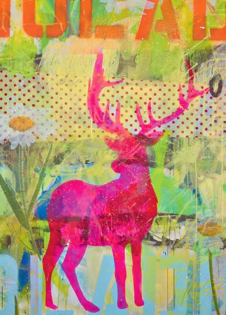 Grunbein, Oh Deer! The Pink One Contemporary & Modern Art Jigsaw Puzzle