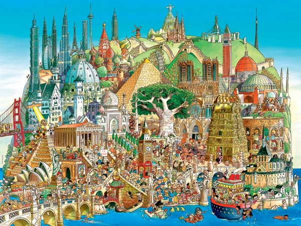 Global City Cartoons Jigsaw Puzzle