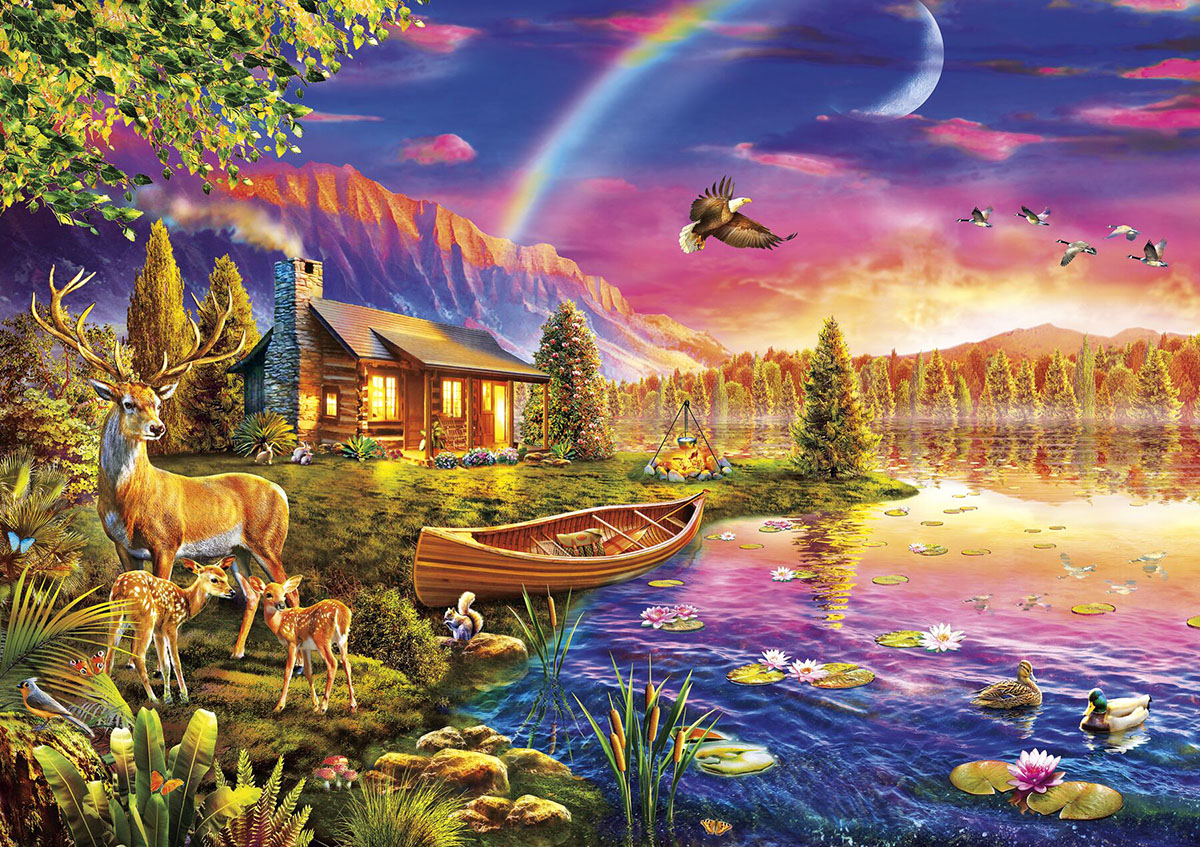Lakeside Cabin Lakes / Rivers / Streams Jigsaw Puzzle
