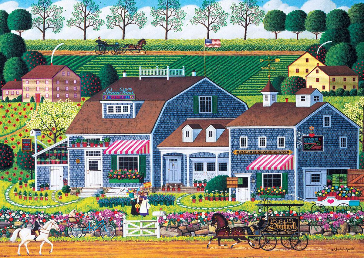 Prairie Wind Flowers - Scratch and Dent Americana & Folk Art Jigsaw Puzzle