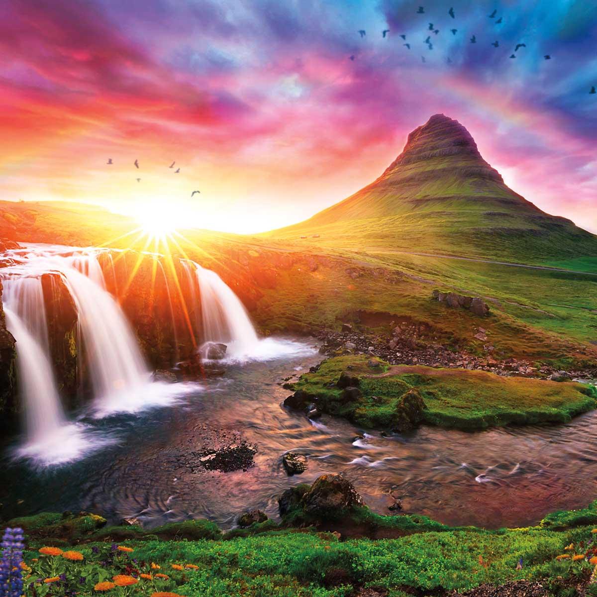 Iceland Sunset Mountains Jigsaw Puzzle