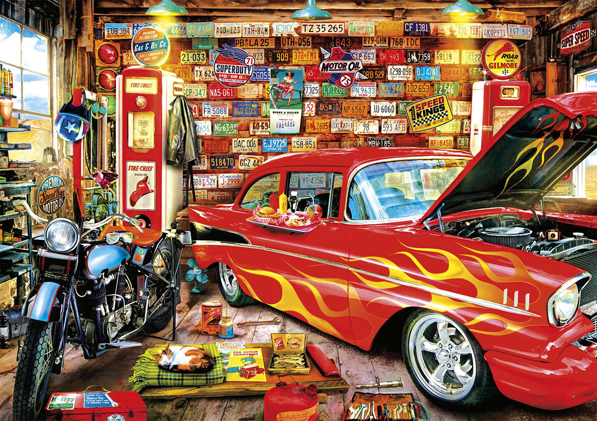 Retro garage jigsaw puzzle for Garage piece auto