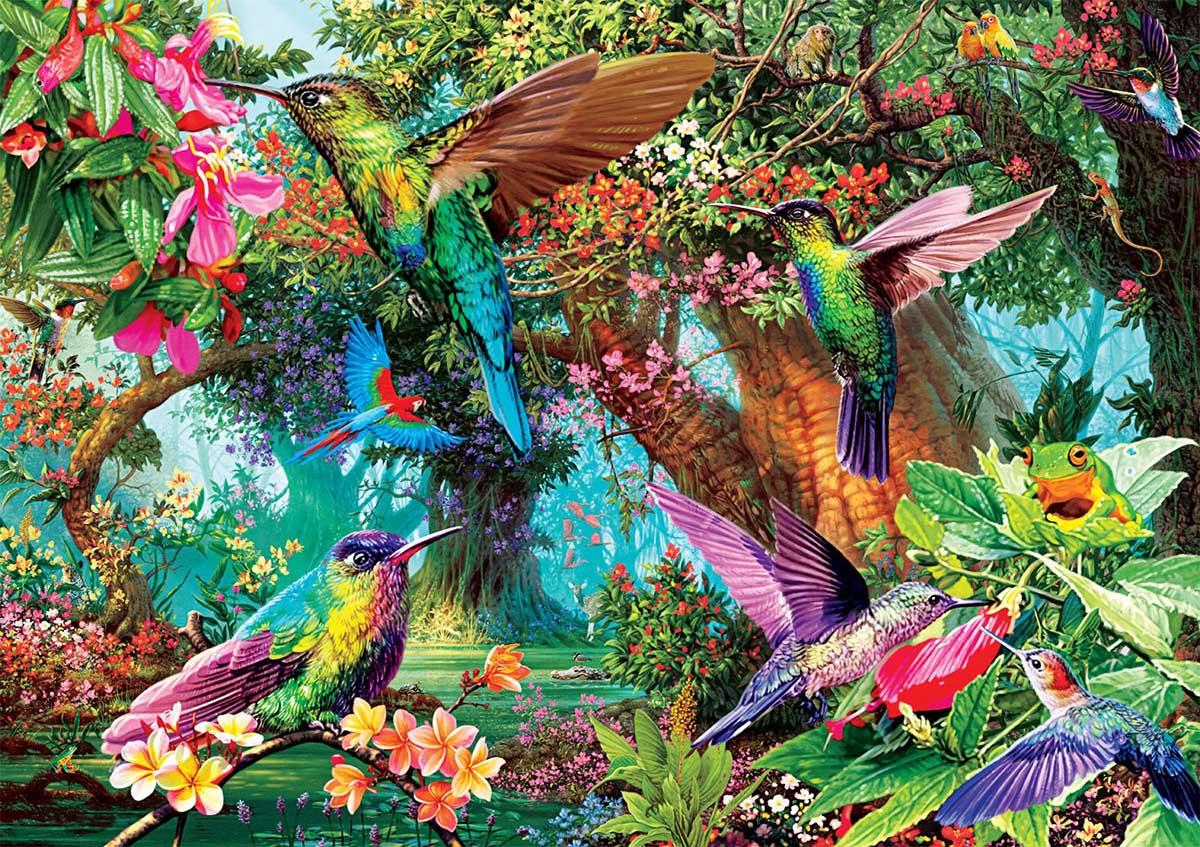 Hummingbird Garden Birds Jigsaw Puzzle