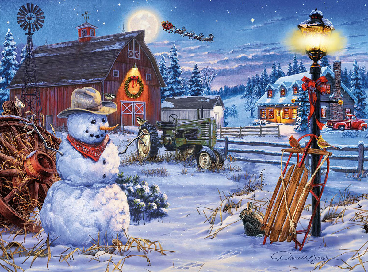Country Christmas Snowman Jigsaw Puzzle