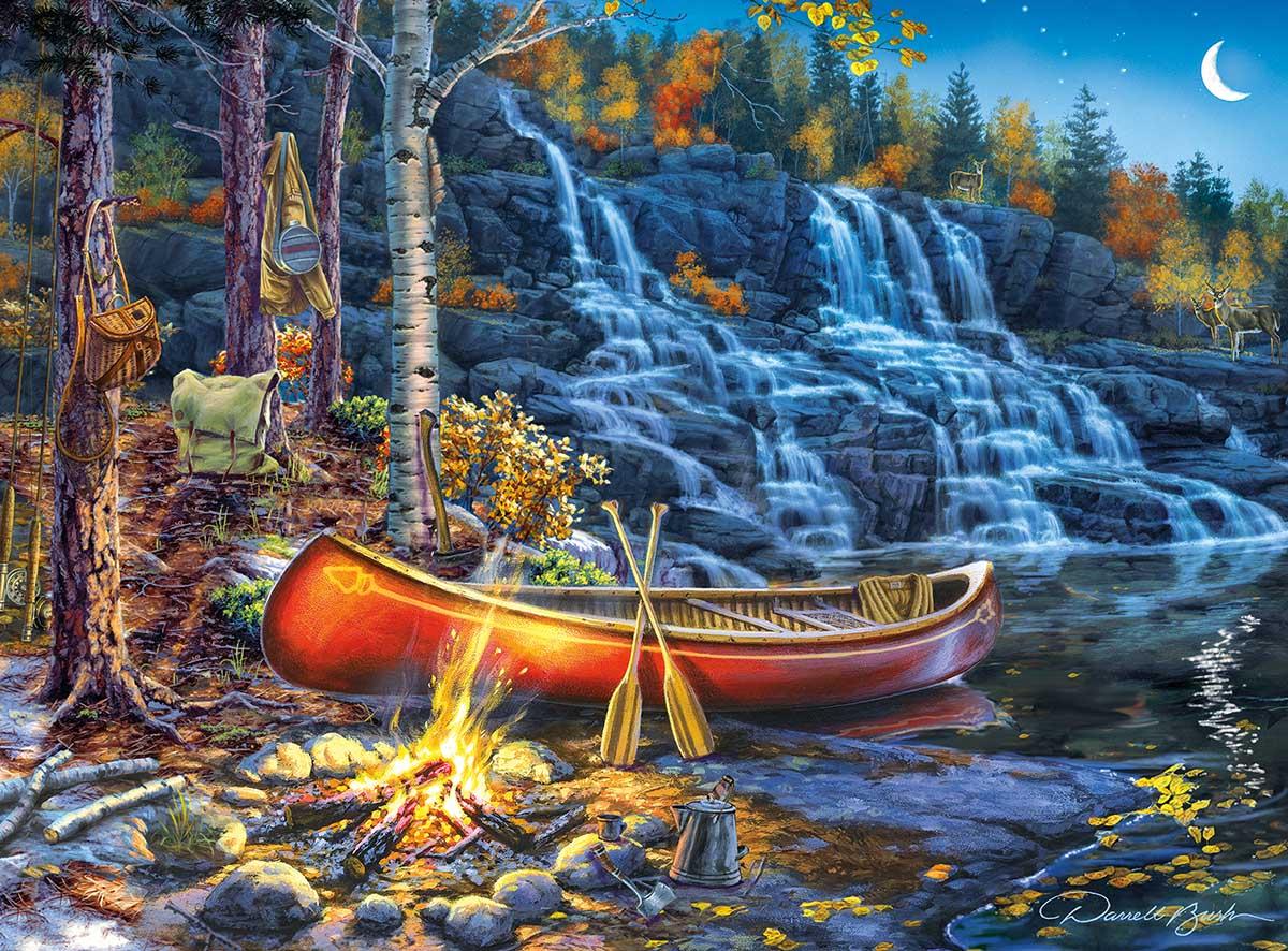 Waterfall Night Animals Jigsaw Puzzle