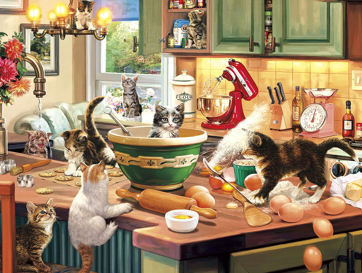 Kitten Kitchen Capers - Scratch and Dent Cats Jigsaw Puzzle