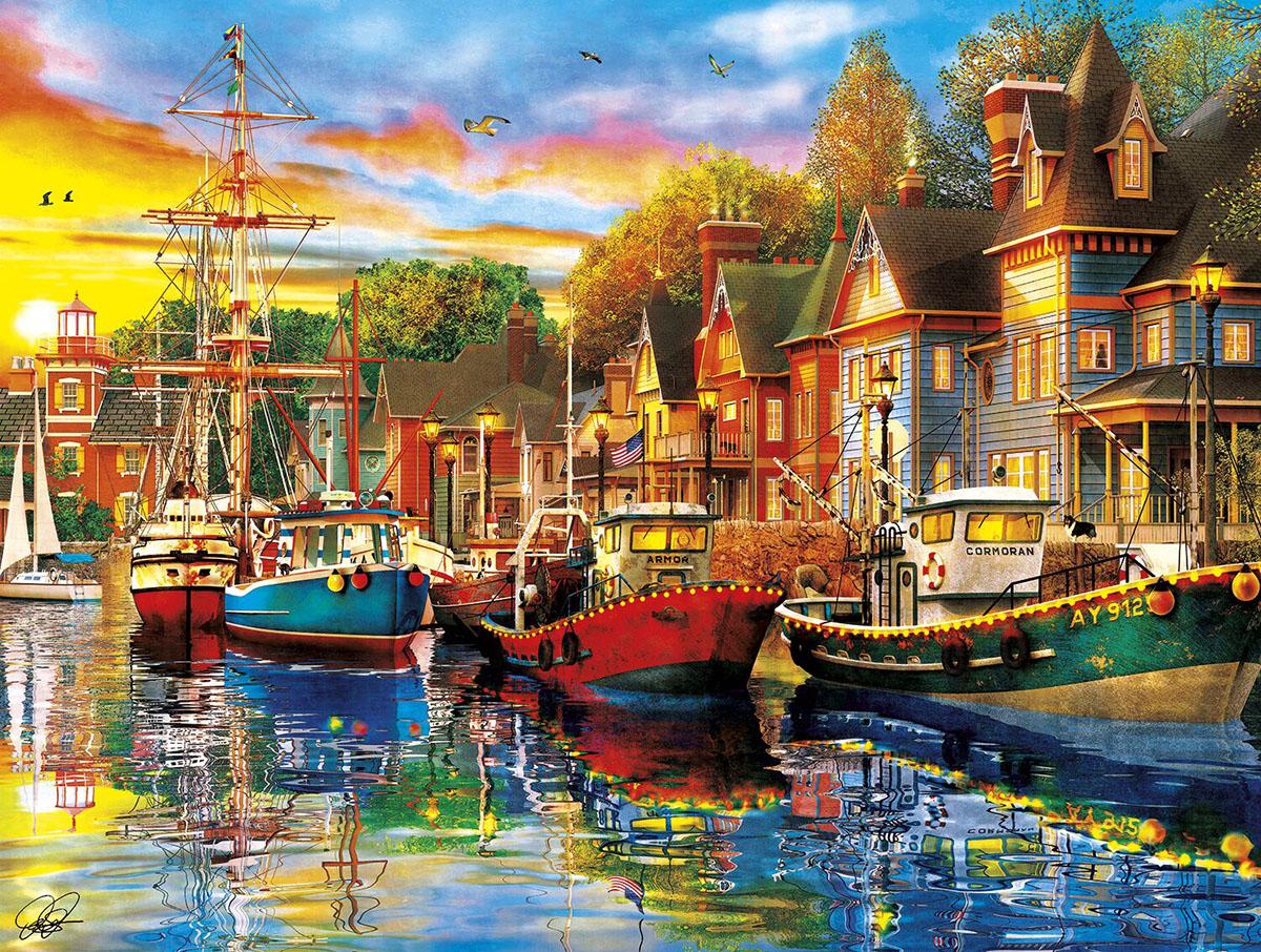 Harbor Lights Seascape / Coastal Living Jigsaw Puzzle