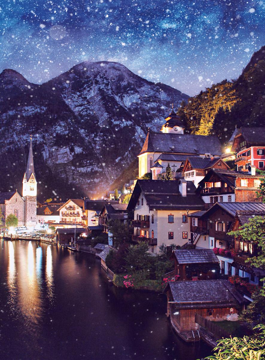 Blanc Series: Hallstatt, Austria Mountains Jigsaw Puzzle