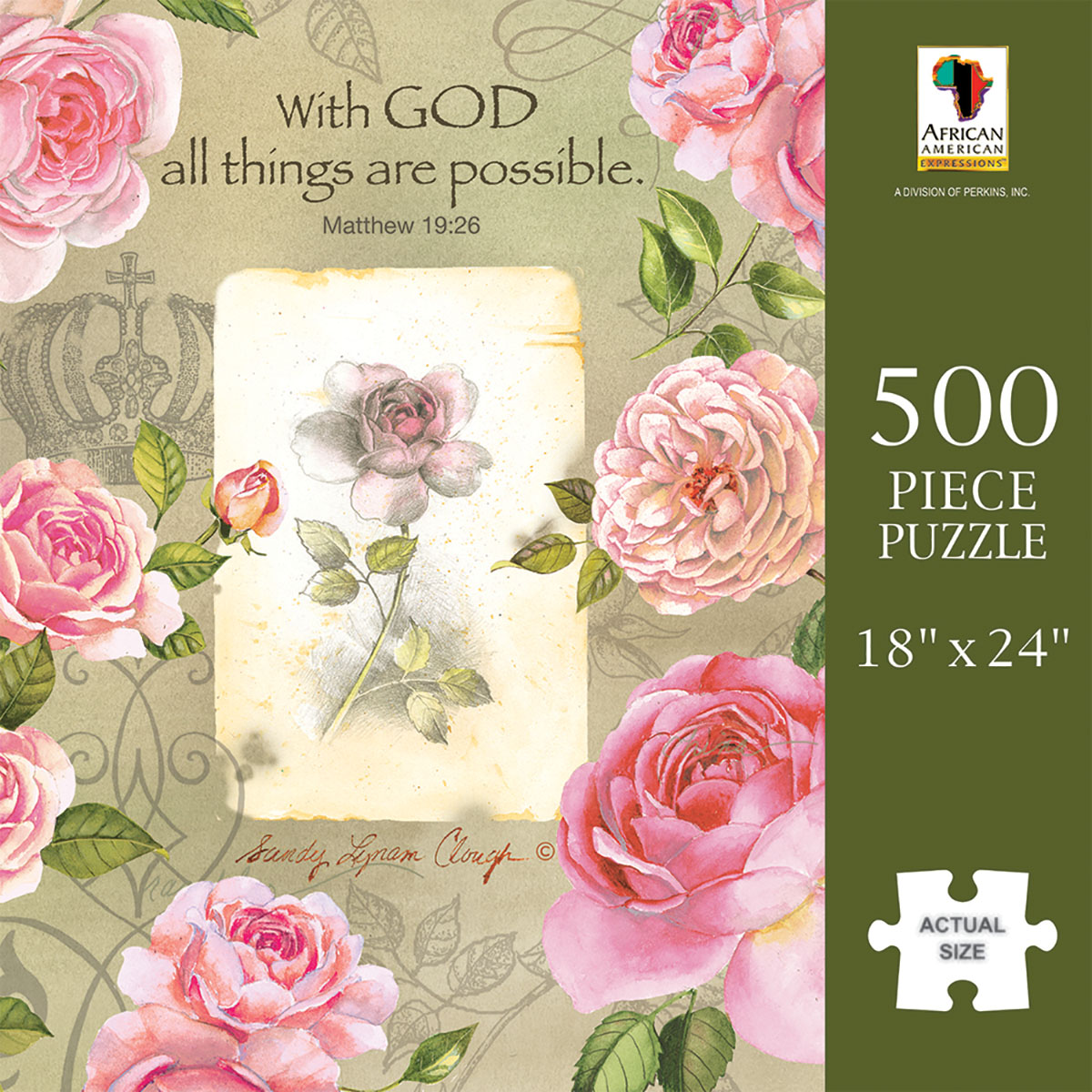 With God Roses Religious Jigsaw Puzzle