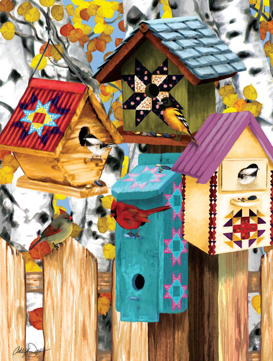 Fall Birdhouses Birds Jigsaw Puzzle