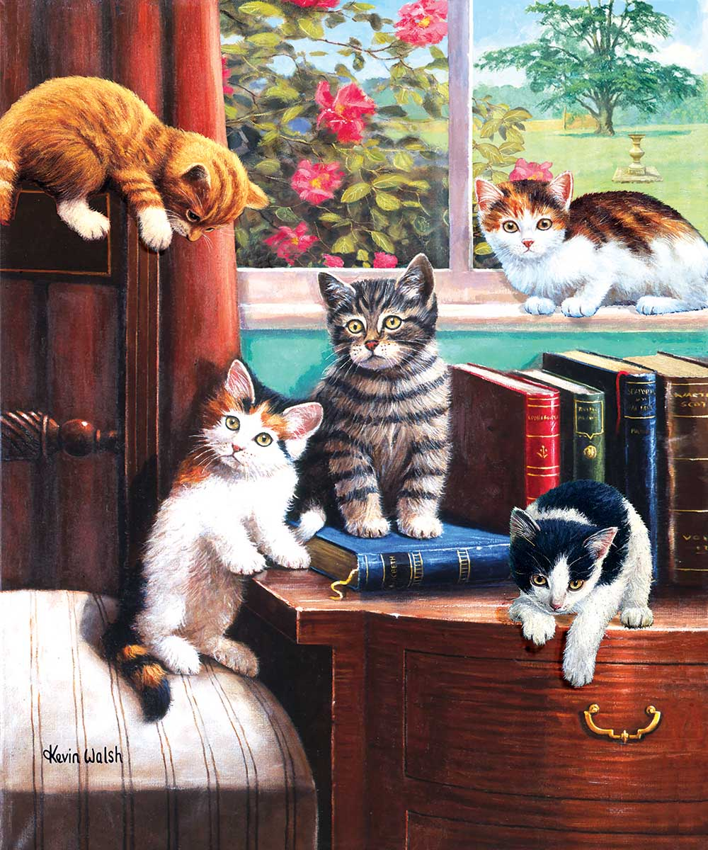 Playtime in the Study Cats Jigsaw Puzzle