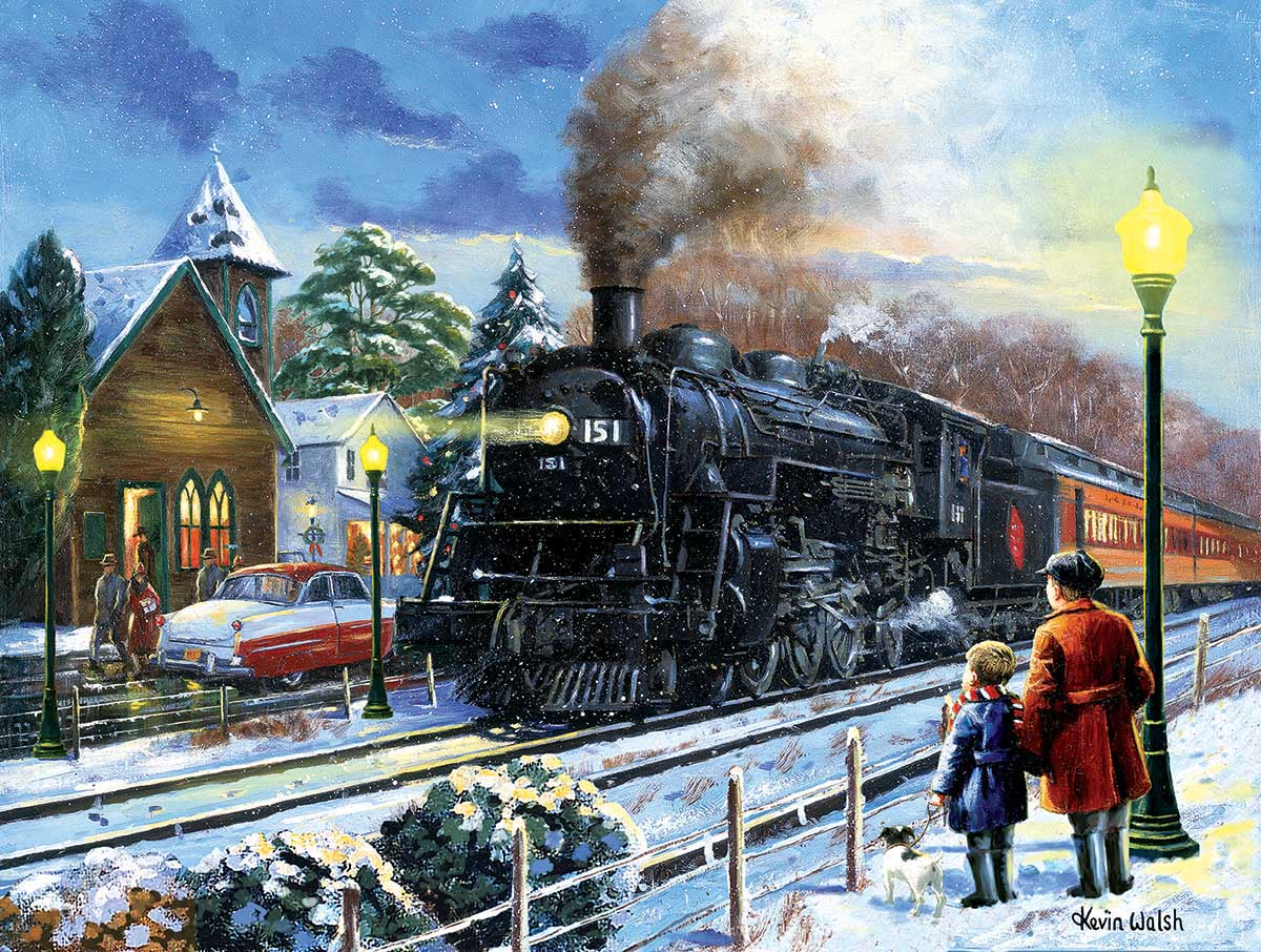 Leaving on a Snowy Night Winter Jigsaw Puzzle