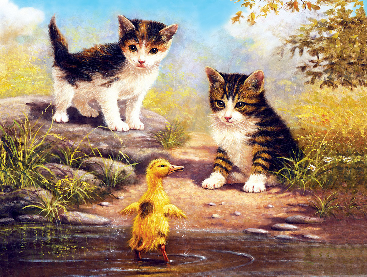 Just Been for a Swim Cats Jigsaw Puzzle