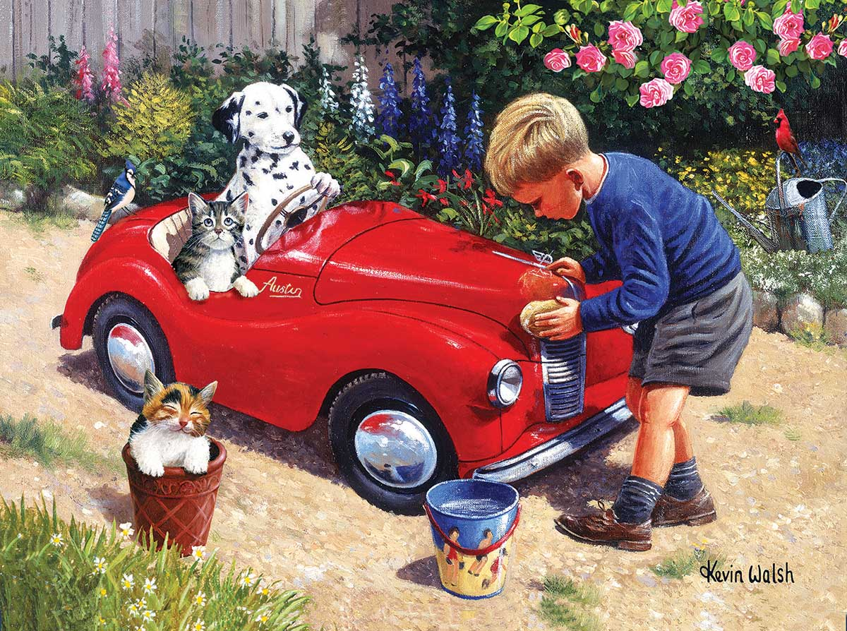 Washing the Car Cats Jigsaw Puzzle