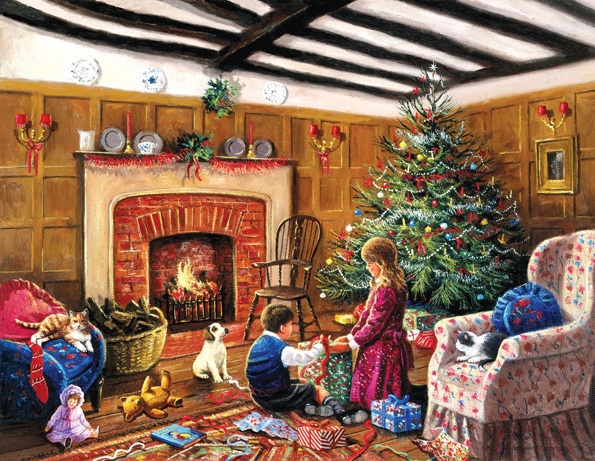 Рождественские семейные открытки, анимашки прозрачном