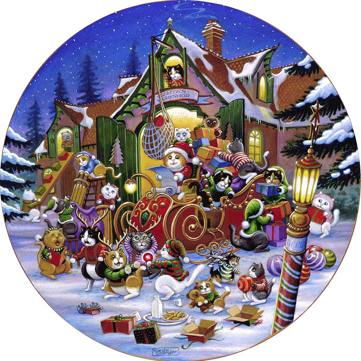 Here comes Santa Paws Cats Round Jigsaw Puzzle