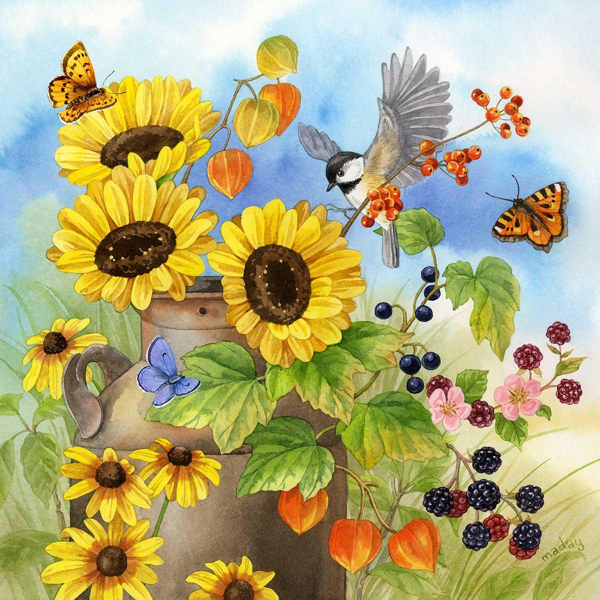 Milkcan Bouquet Birds Jigsaw Puzzle
