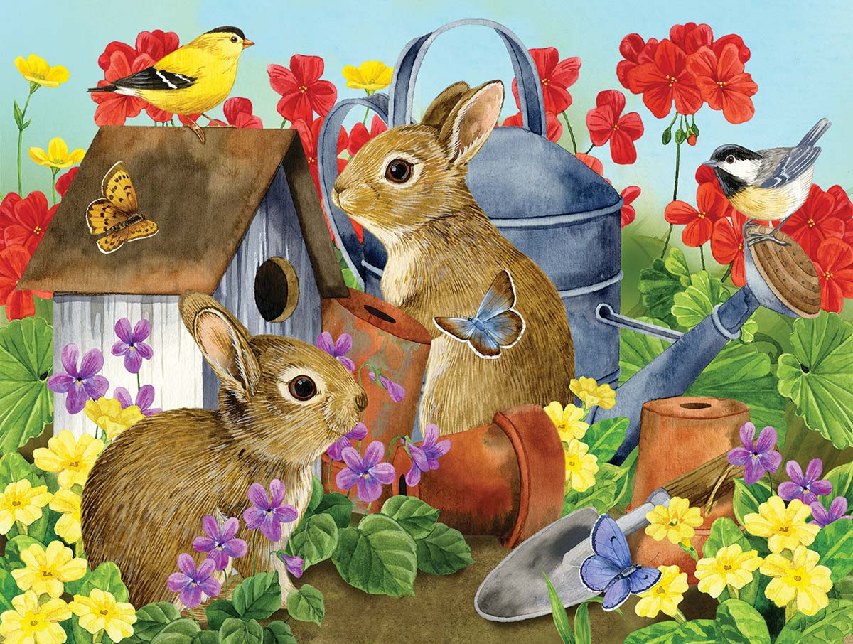 Bunnies and Birdhouses Animals Jigsaw Puzzle