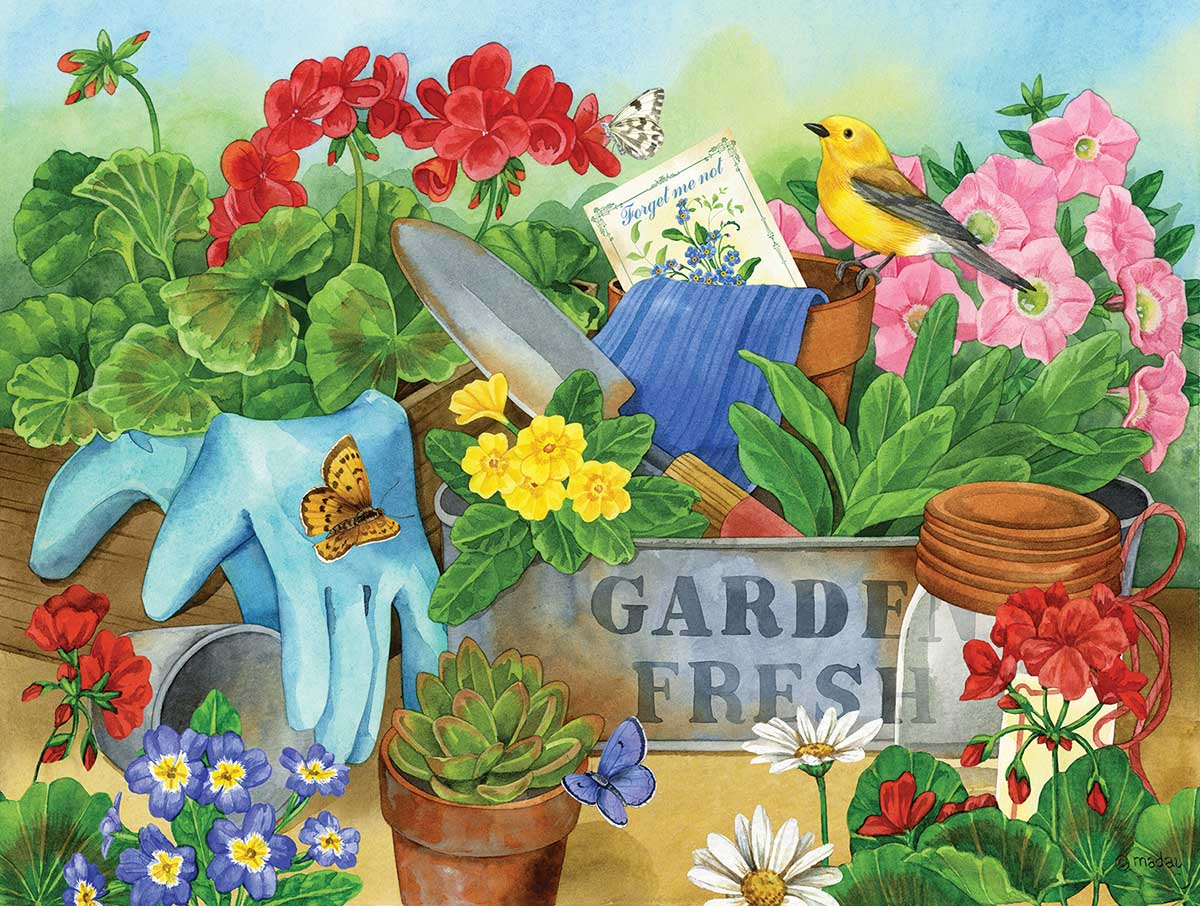 Gardener's Table Flowers Jigsaw Puzzle
