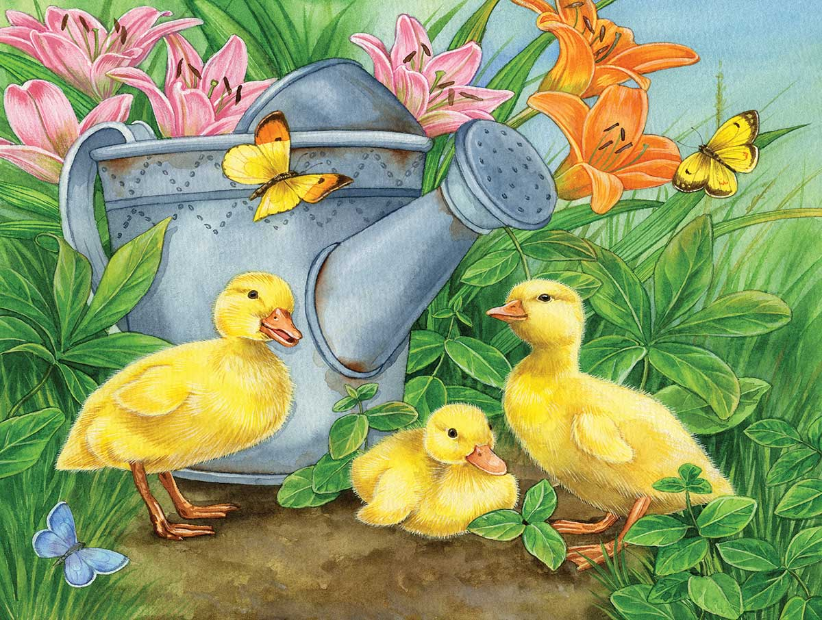 Ducklings and Butterflies Birds Jigsaw Puzzle