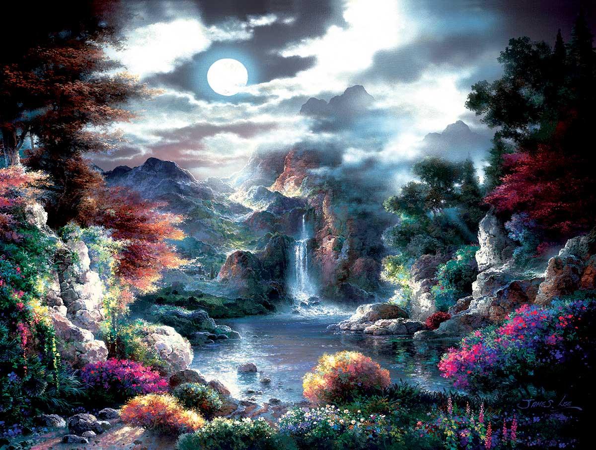 Full Moon Waterfalls Jigsaw Puzzle