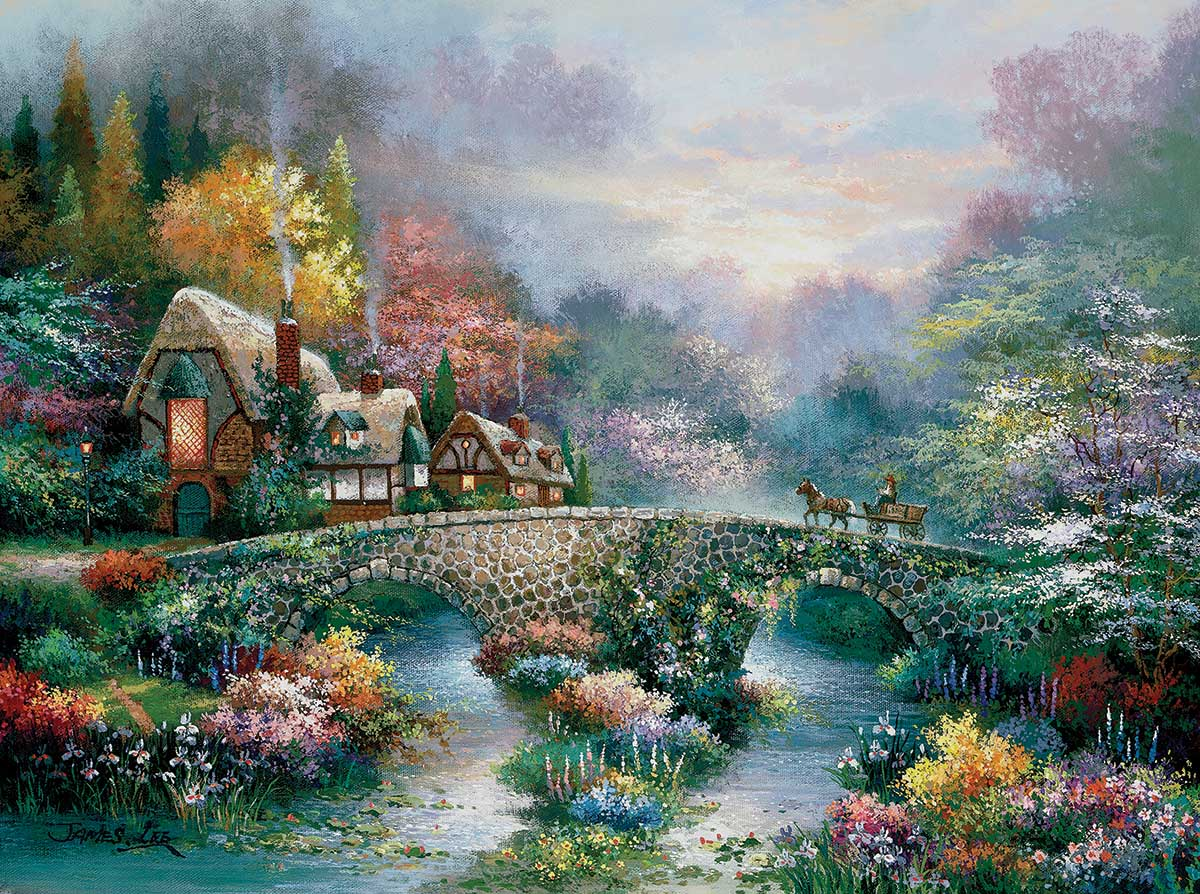 Peaceful Cottage Landscape Jigsaw Puzzle