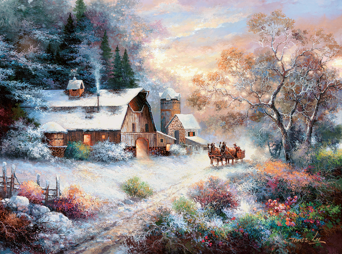 Snowy Evening Outing Farm Jigsaw Puzzle