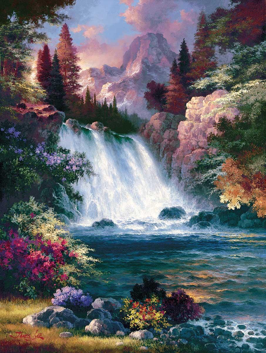 Sunrise Falls Spring Landscape Jigsaw Puzzle