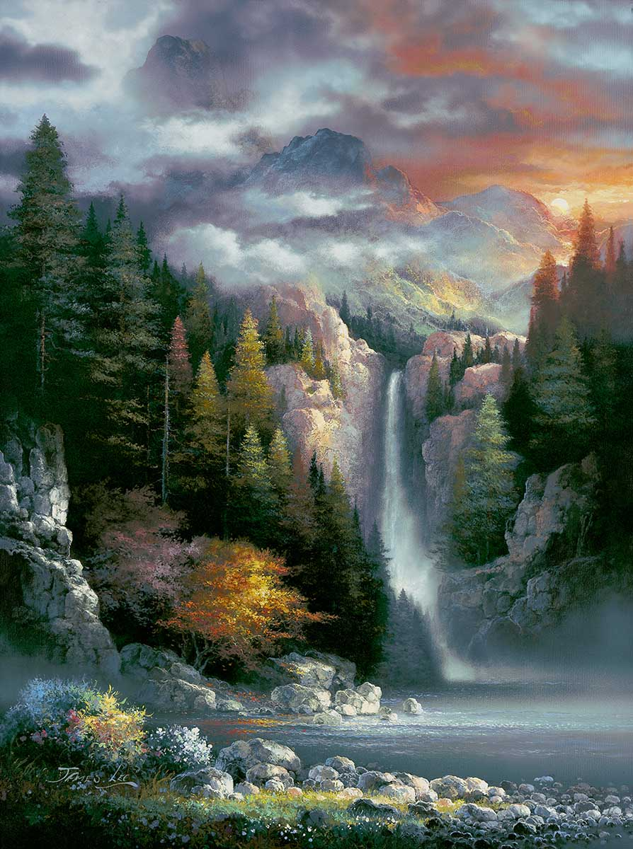 Misty Falls Mountains Jigsaw Puzzle