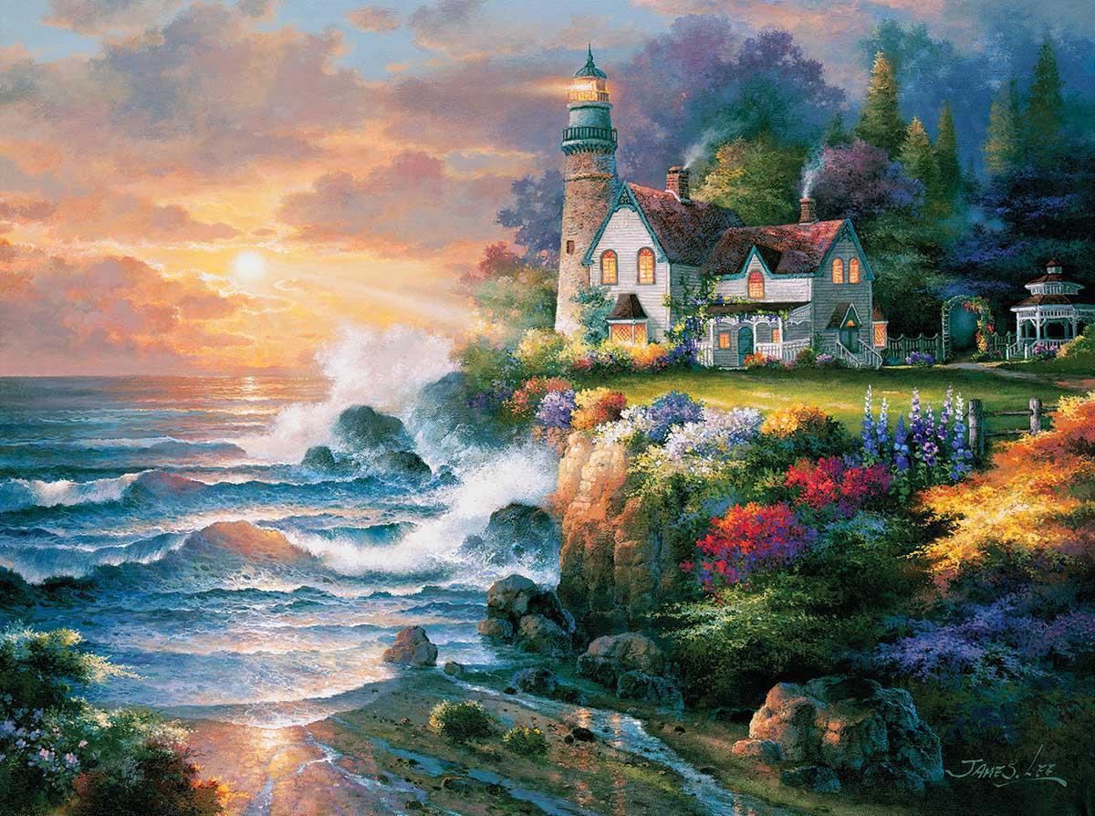 Twilight Beacon Beach Jigsaw Puzzle