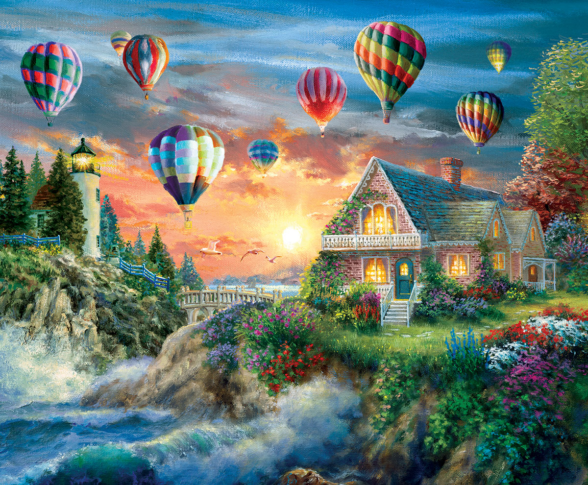 Balloons Over Sunset Balloons Jigsaw Puzzle