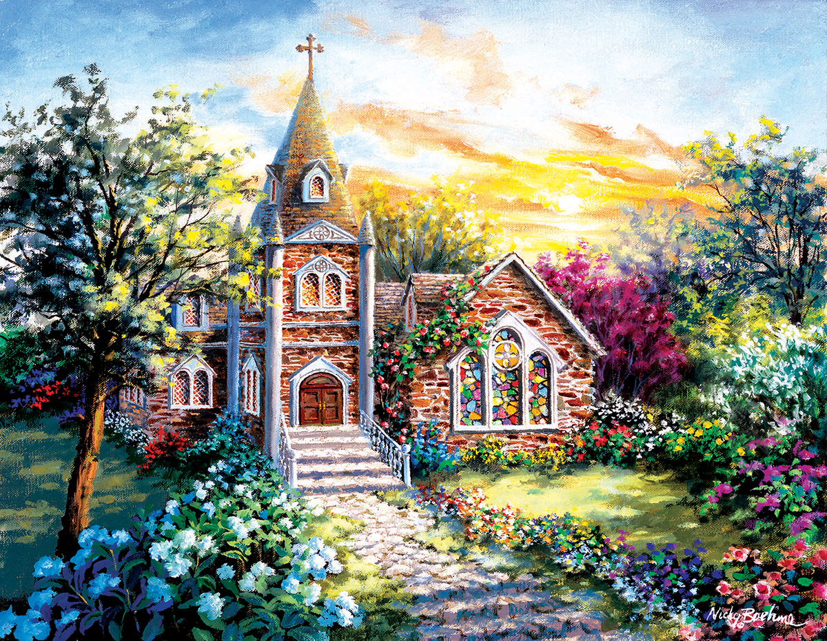 A Tranquil Setting Churches Jigsaw Puzzle