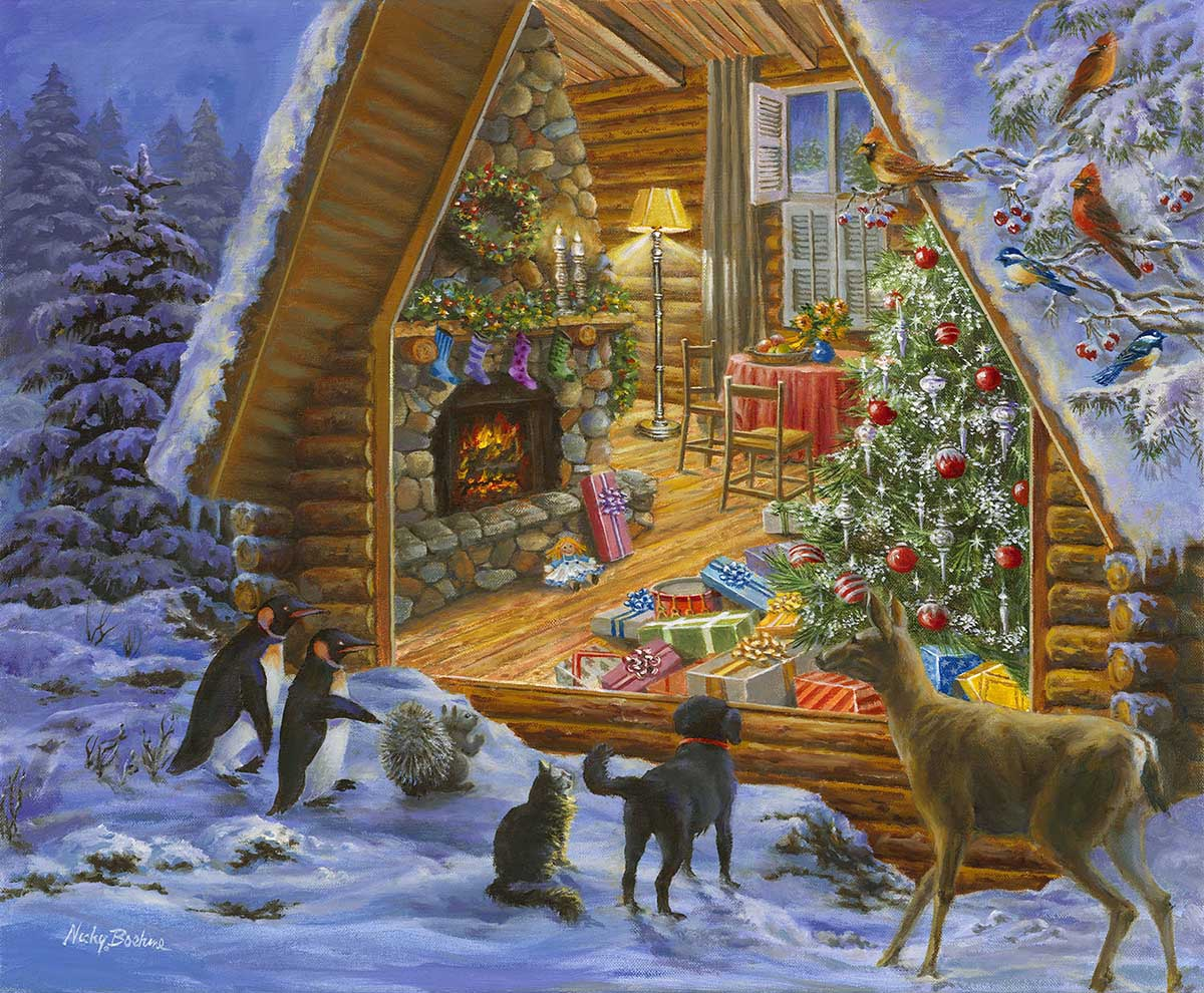 Christmas Cabin Christmas Jigsaw Puzzle