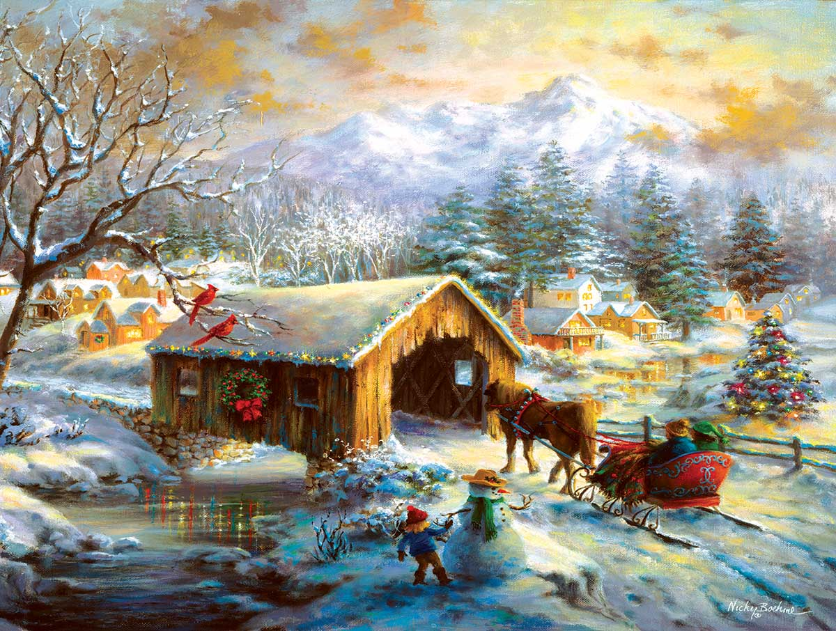 Over the Covered Bridge Landscape Jigsaw Puzzle