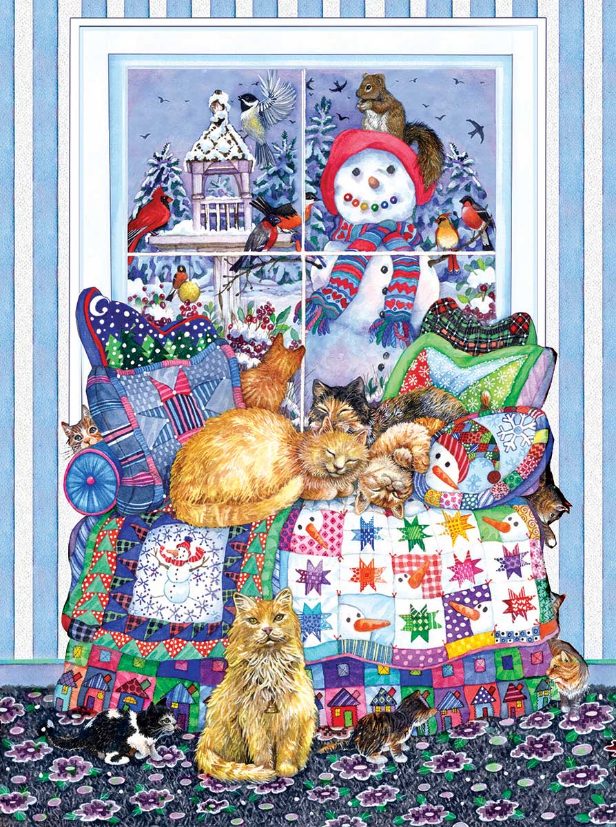 Winter Quilt Cats Jigsaw Puzzle