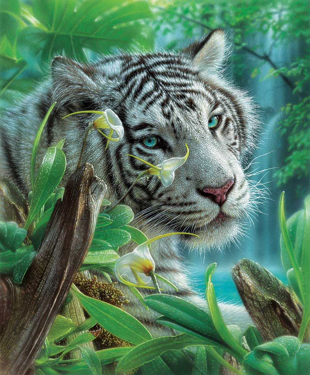 White Tiger of Eden Tigers Jigsaw Puzzle