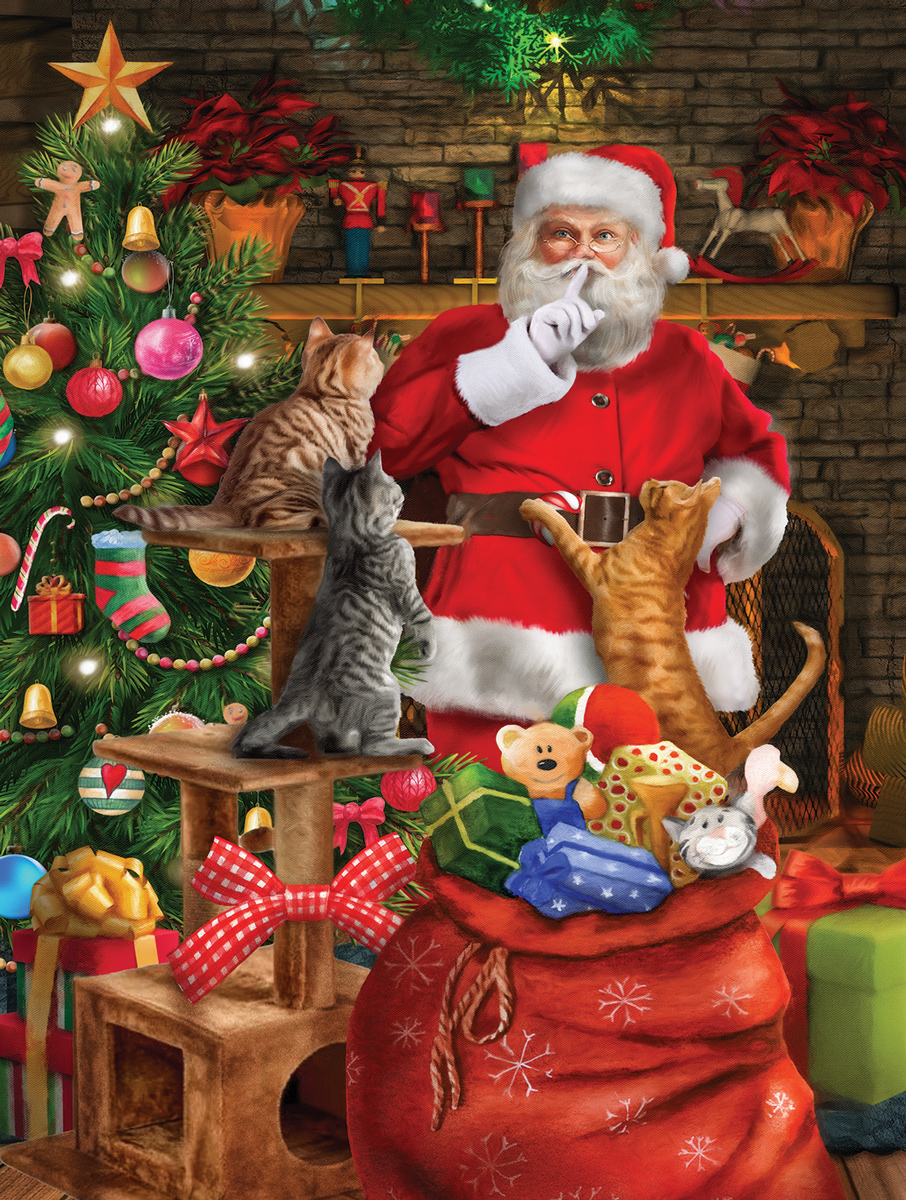 Cat Out Of The Bag Santa Jigsaw Puzzle